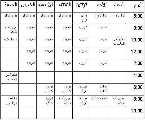 جدول تنظيم الوقت للدراسة في العطلة
